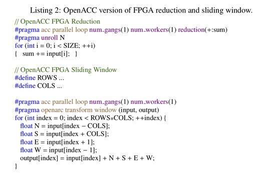 OpenACC version of FPGA reduction and sliding window